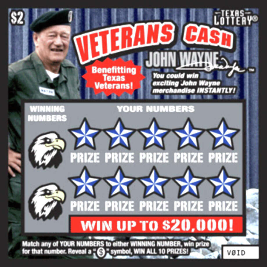 Texas Lottery Veterans Cash ticket, featuring John Wayne ¥ The proceeds from the sale of this ticket will help the Texas Fund for Veterans Assistance! ¥ Over $13.4 million in prizes in this game! ¥ Pack Size: 125 tickets ¥ Guaranteed Total Prize Amount = $119 per pack / Copyright © 2012. Texas Lottery Commission. All rights reserved.