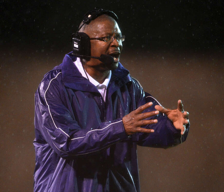 Brackenridge head coach Willy Hall directs his team during a high school football game between Brackenridge and Jefferson at Alamo Stadium in San Antonio, Friday, September 28, 2012.