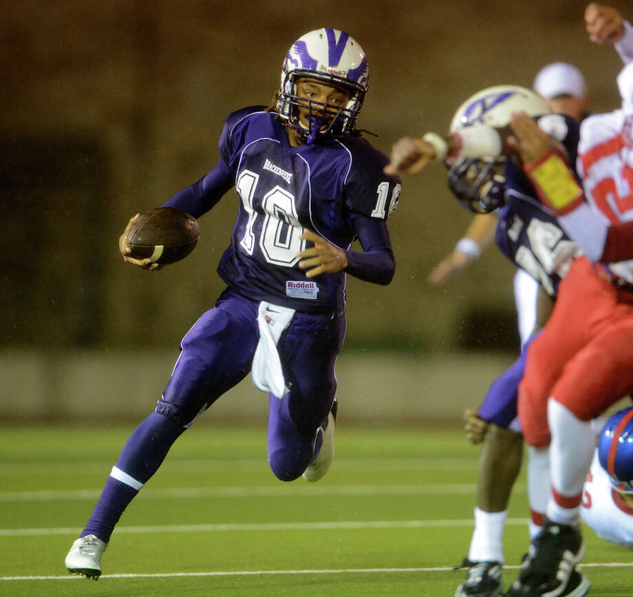 Brackenridge's Ramo Richards (10) looks for running room during a high school football game between Brackenridge and Jefferson at Alamo Stadium in San Antonio, Friday, September 28, 2012.