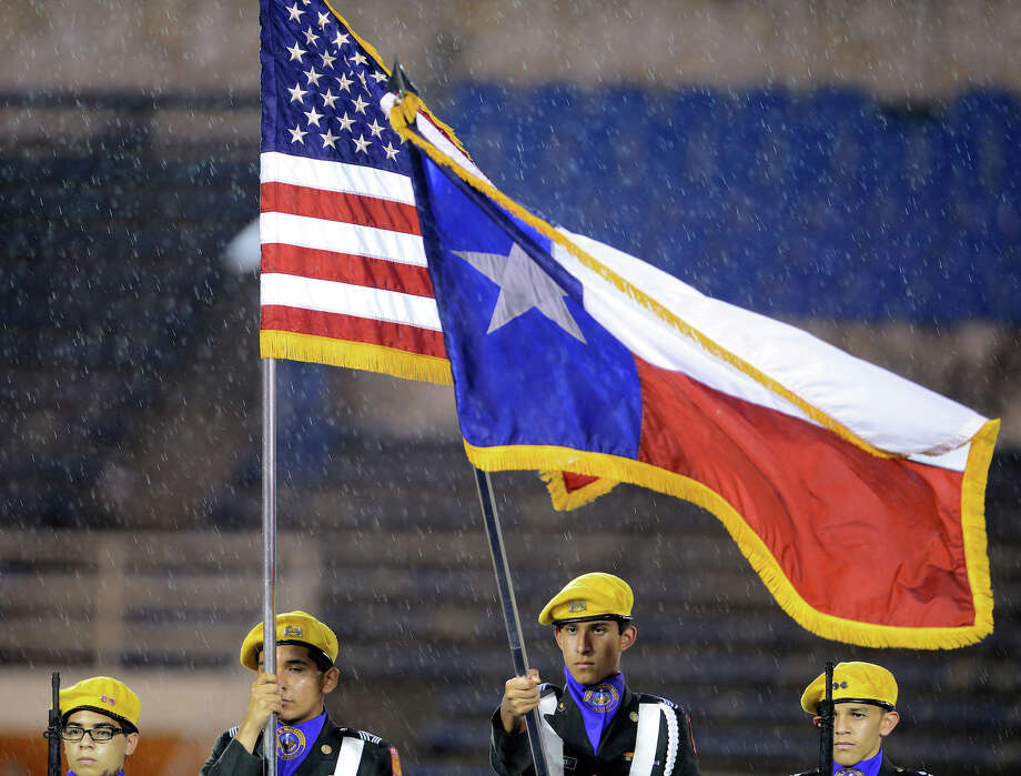 Members of the Brackenridge ROTC present the colors before a high school football game between Brackenridge and Jefferson at Alamo Stadium in San Antonio, Friday, September 28, 2012. John Albright / Special to the Express-News. Photo: JOHN ALBRIGHT, Express-News / San Antonio Express-News
