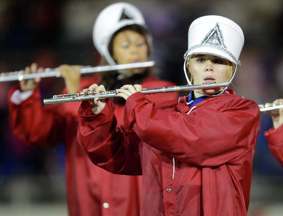 Members of the Jefferson Band preform during halftime of a high school football game between Brackenridge and Jefferson at Alamo Stadium in San Antonio, Friday, September 28, 2012.
