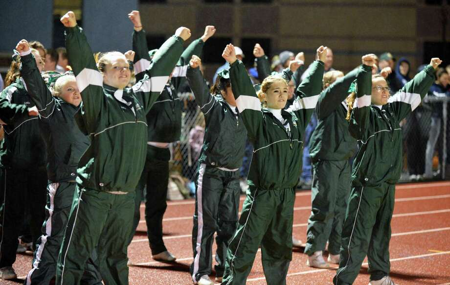 Greenwich cheerleaders perform during Friday night's game against  Rensselaer Sept. 28, 2012.  (John Carl D'Annibale / Times Union) Photo: John Carl D'Annibale / 00019406A
