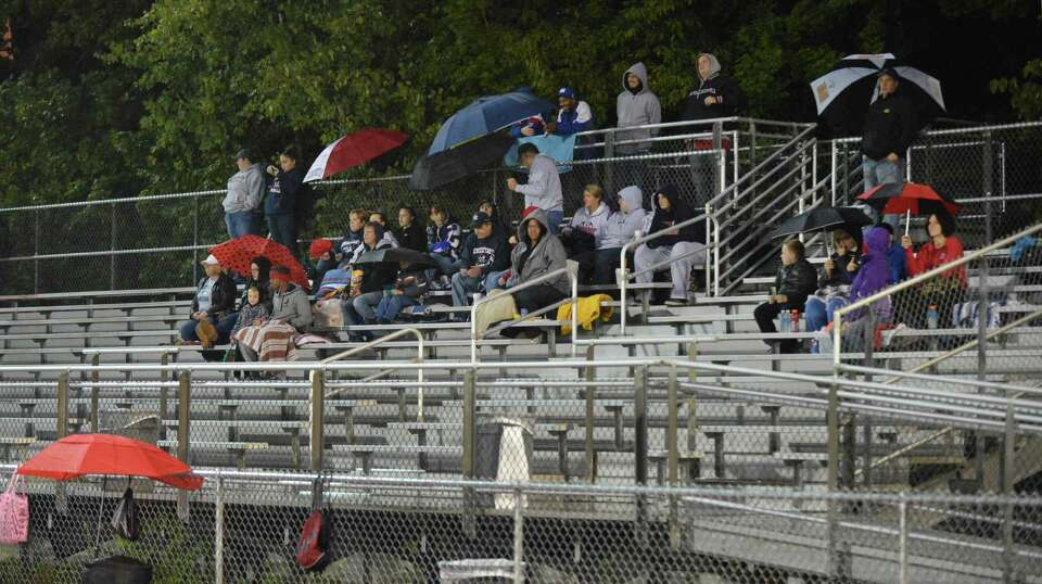 Die hard Schenectady fans during Friday night's game at Troy High Sept. 28, 2012.  (John Carl D'Anni