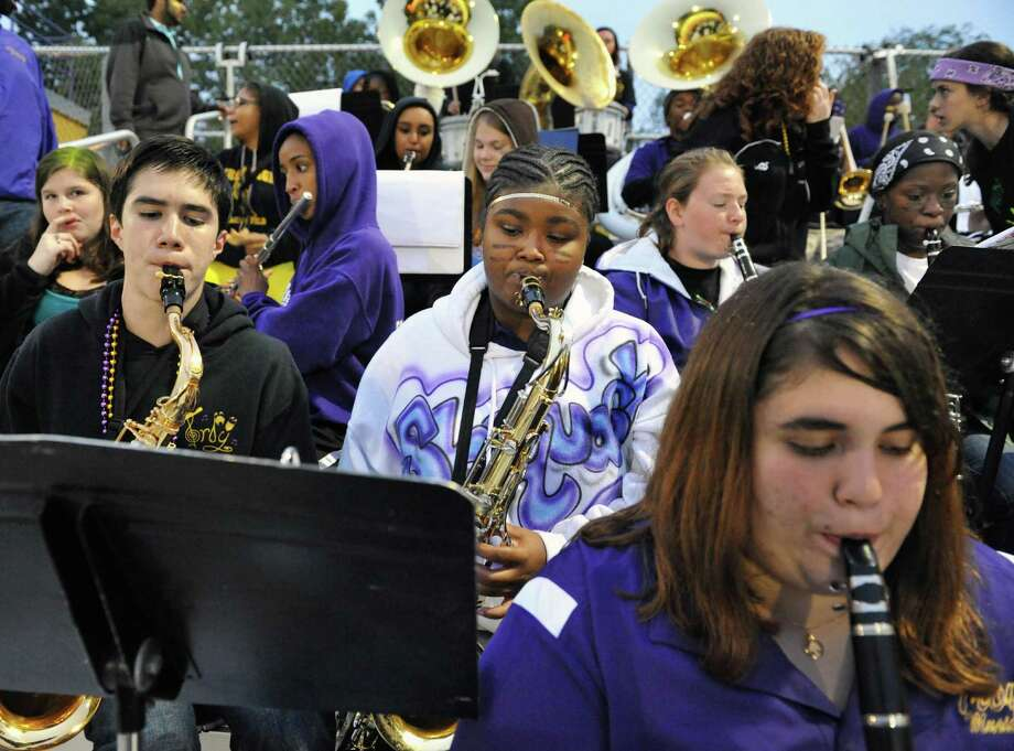 Troy High's band plays during Friday night's game against Schenectady at Troy High Sept. 28, 2012.  (John Carl D'Annibale / Times Union) Photo: John Carl D'Annibale / 00019407A