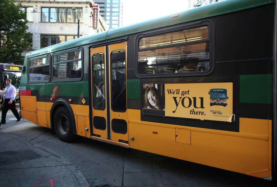 A bus turns off 3rd Avenue in downtown Seattle's free ride area. On September 29th King County Metro
