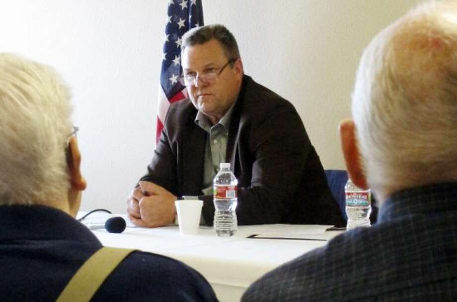 In this Thursday, Aug. 30, 2012 photo, Democratic U.S. Sen. Jon Tester discusses Social Security and Medicare concerns with seniors during a campaign stop in Helena, Mont. Tester and his Republican challenger, U.S. Rep. Denny Rehberg, are engaged in a multimillion-dollar fight for a Senate seat prized by both parties seeking control of the chamber. (Matt Gouras / Associated Press)
