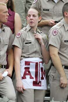 A cadet in the stands during the first half of a college football game at Kyle Field, Saturday, Sept. 29, 2012, in College Station. Photo: Karen Warren, Houston Chronicle / © 2012  Houston Chronicle