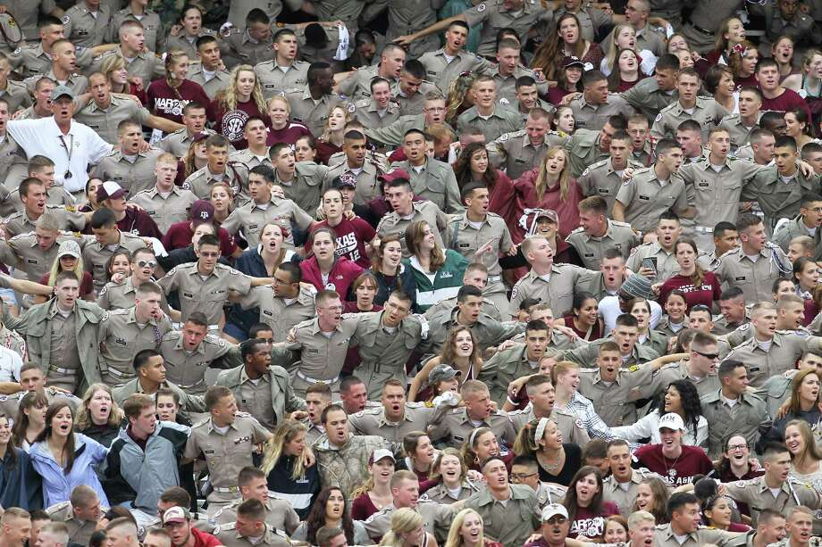 Texas A&M students and cadets cheer before the start of a college football game at Kyle Field, Saturday, Sept. 29, 2012, in College Station. Photo: Karen Warren, Houston Chronicle / © 2012  Houston Chronicle