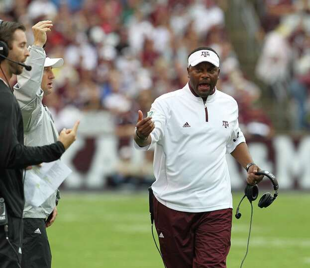 Texas A&M head coach Kevin Sumlin on the sidelines during the first quarter of a college football ga