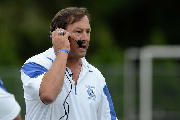 Darien coach Rob Trifone watches from the sidelines as Darien High School hosts St. Joseph High School in varsity football in Darien, CT on Sept. 29, 2012. Photo: Shelley Cryan / Shelley Cryan for the Stamford Advocate/ freelance Shelley Cryan