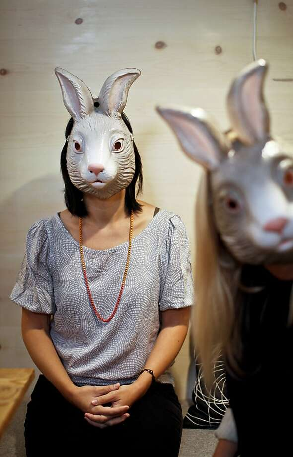 Rena Tom, left, and Victoria Smith wear bunny masks in a meeting room at the Makeshift Society on Wednesday, Sep. 26, 2012 in San Francisco, Calif. Photo: Russell Yip, The Chronicle