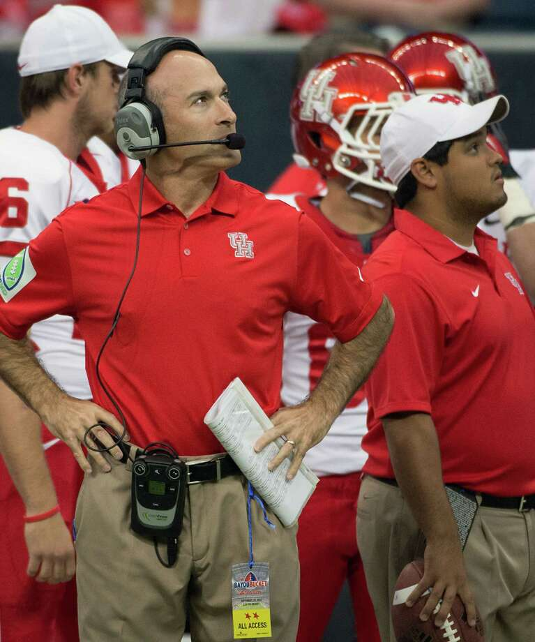 Houston head coach Tony Levine looks at the scoreboard before facing Rice in the annual Bayou Bucket football game at Reliant Stadium, Saturday, Sept. 29, 2012, in Houston. Photo: Smiley N. Pool, Houston Chronicle / © 2012  Houston Chronicle