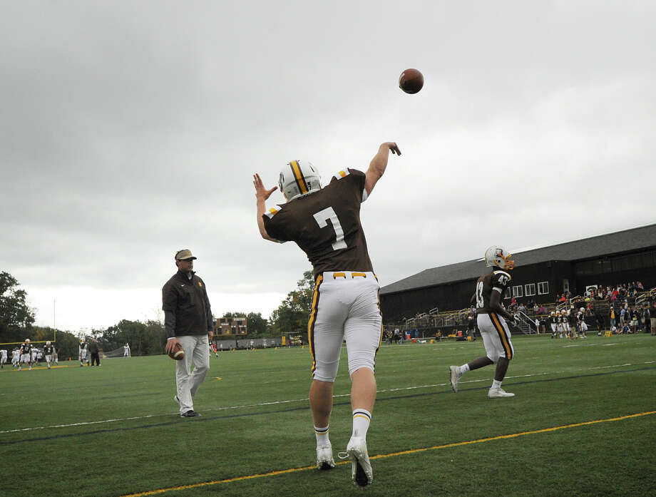 Brunswick's Jimmy Knight # 7  takes warm-ups during the high school football game between Brunswick School and Avon Old Farms School at Brunswick in Greenwich, Saturday afternoon, Sept. 29, 2012. Photo: Bob Luckey / Greenwich Time