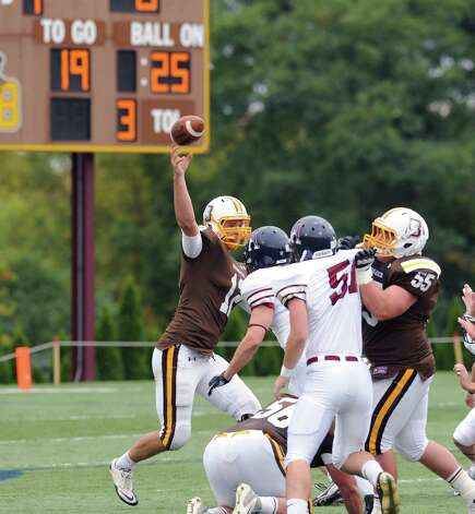 Brunswick quarterback Todd Stafford throws during the high school football game between Brunswick School and Avon Old Farms School at Brunswick in Greenwich, Saturday afternoon, Sept. 29, 2012. Photo: Bob Luckey / Greenwich Time