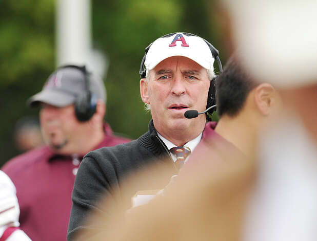 Kevin Driscoll, Avon Old Farms School head football coach, during the high school football game between Brunswick School and Avon Old Farms School at Brunswick in Greenwich, Saturday afternoon, Sept. 29, 2012. Photo: Bob Luckey / Greenwich Time