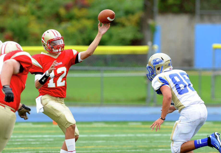 Stratford QB Michael Cannatal, during football action against Newtown in Stratford, Conn. on Saturday September 29, 2012. Photo: Christian Abraham / Connecticut Post