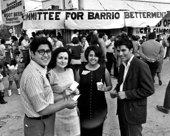Lto r William Benavides, Gloria Cabrera, me, Mario Compean CBB ticket 1971 across from Elmendorf Lake at CBB headquarters ralley(near OLLU)