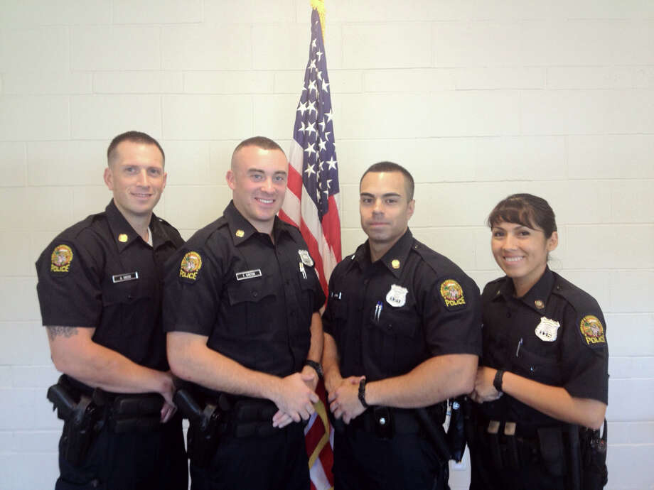 Greenwich Police officers, from left, Anthony Sacco of Norwalk, Thomas Gorton of Trumbull, Justin Rivera of Tarrytown, N.Y., and Shirley Rilett of Stamford. Photo: Contributed Photo
