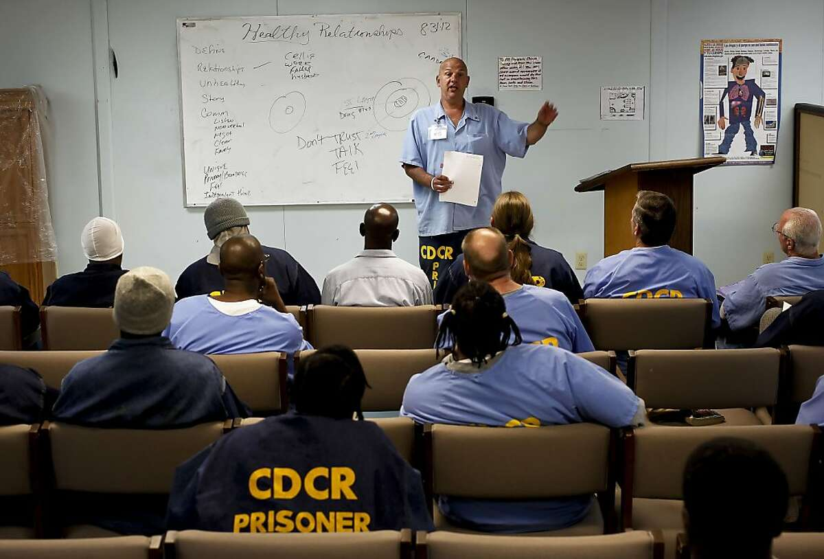Inmate counselor, Vincent Russo talks to the group about healthy relationships, during the weekly meeting of the ARC program, Addiction Recovery Counseling at San Quentin State Prison, on Friday August 31, 2012, in San Quentin, Calif. A new state report shows that prison inmates convicted of a third strike are no more psychologically dangerous than other criminals, but do have more substance abuse issues.