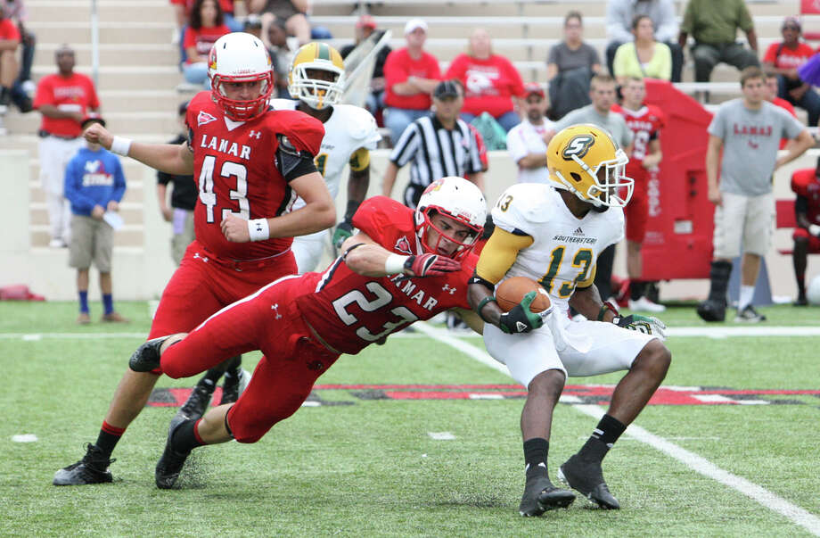 Lamar's Payton Ploch misses a tackle during Lamar's 31-21 loss to Southeastern Louisiana Friday at Provost Umphrey Stadium. Matt Billiot