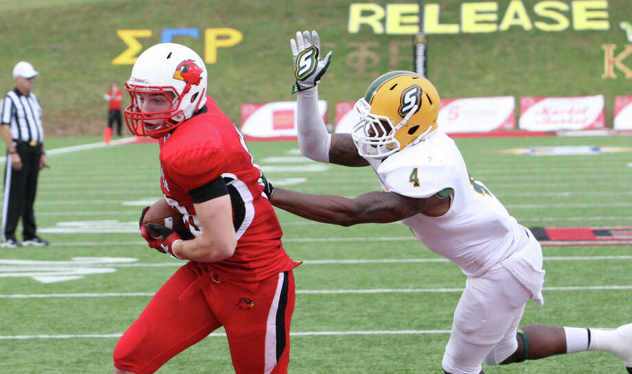 Lamar's Payden McVey catches a pass for a touchdown during Lamar's 31-21 loss to Southeastern Louisiana Friday at Provost Umphrey Stadium. Matt Billiot