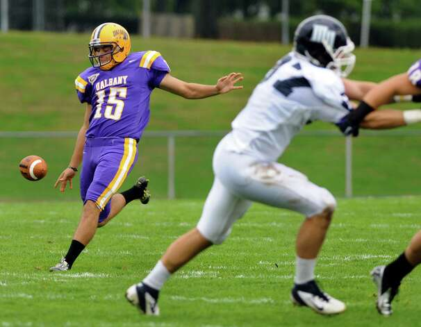 UAlbany's punter Paul Layton (15) during their football game against Monmouth in a Northeast Conference game on Saturday, Sept. 29, 2012, at UAlbany in Albany, N.Y. (Cindy Schultz / Times Union) Photo: Cindy Schultz / 00019421A