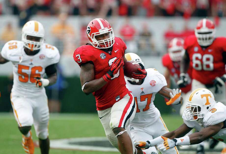 Georgia running back Todd Gurley had 130 yards and three touchdowns for the victorious Bulldogs. Photo: John Bazemore / AP