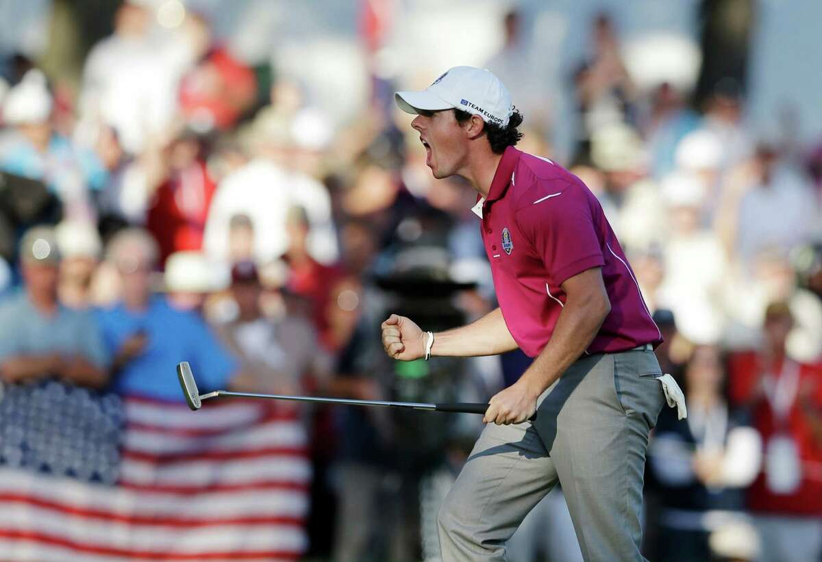 Europe's Rory McIlroy reacts after making a birdie putt on the 13th hole during a four-ball match at the Ryder Cup PGA golf tournament Saturday, Sept. 29, 2012, at the Medinah Country Club in Medinah, Ill. (AP Photo/Chris Carlson)