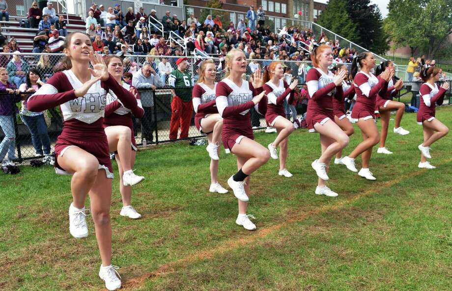 Watervliet cheerleaders during Saturday's home game against Chatham Sept. 29, 2012.  (John Carl D'Annibale / Times Union) Photo: John Carl D'Annibale / 00019408A
