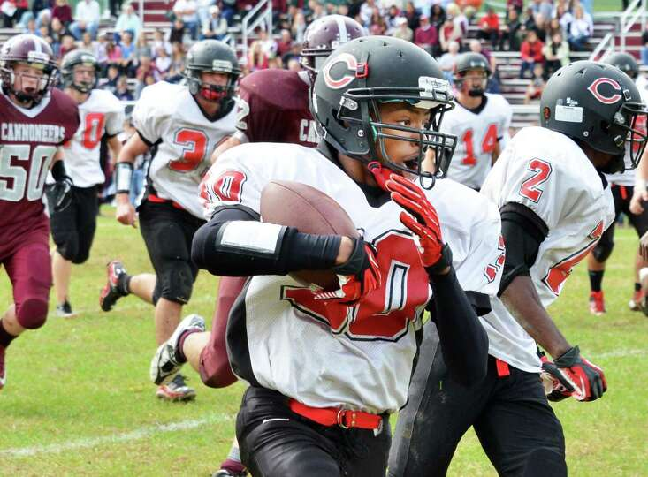 Chatham's #30 Repheal Joseph with the ball during Saturday's game at Watervliet High  Sept. 29, 2012