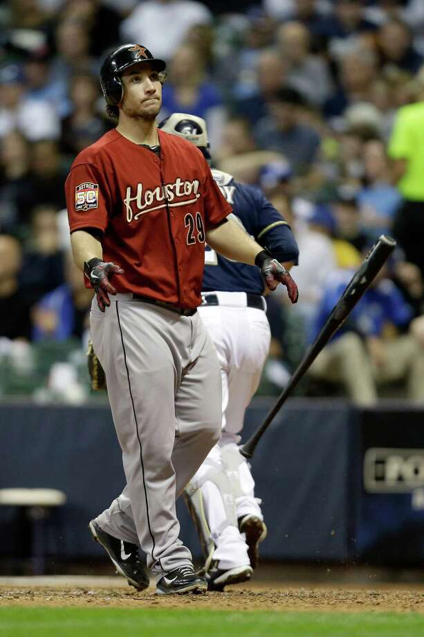 MILWAUKEE, WI - SEPTEMBER 29: Brett Wallace #29 of the Houston Astros throws his bat after striking out in the top of the 6th inning against the Milwaukee Brewers at Miller Park on September 29, 2012 in Milwaukee, Wisconsin. (Photo by Mike McGinnis/Getty Images) Photo: Mike McGinnis / 2012 Getty Images