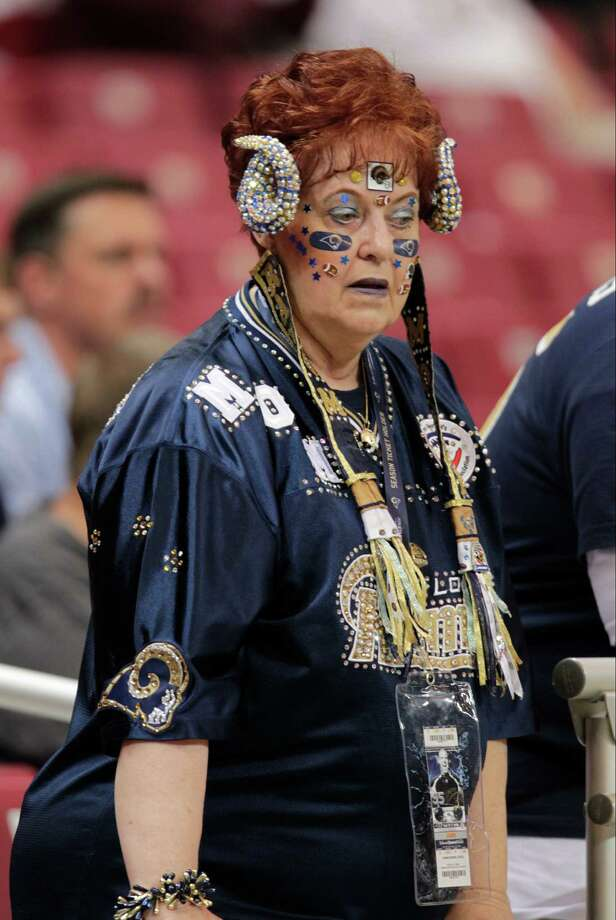 A St. Louis Rams fan before the start of an NFL football game against the Seattle Seahawks Sunday, Sept. 30, 2012, in St. Louis. Photo: AP