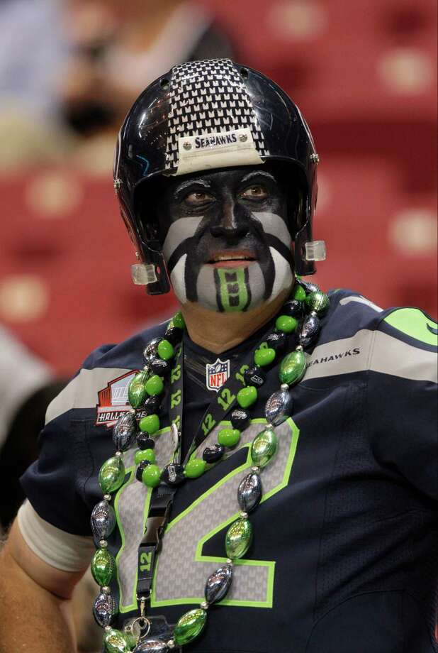 A Seattle Seahawks fan before  an NFL football game against the St. Louis Rams Sunday, Sept. 30, 2012, in St. Louis. Photo: AP