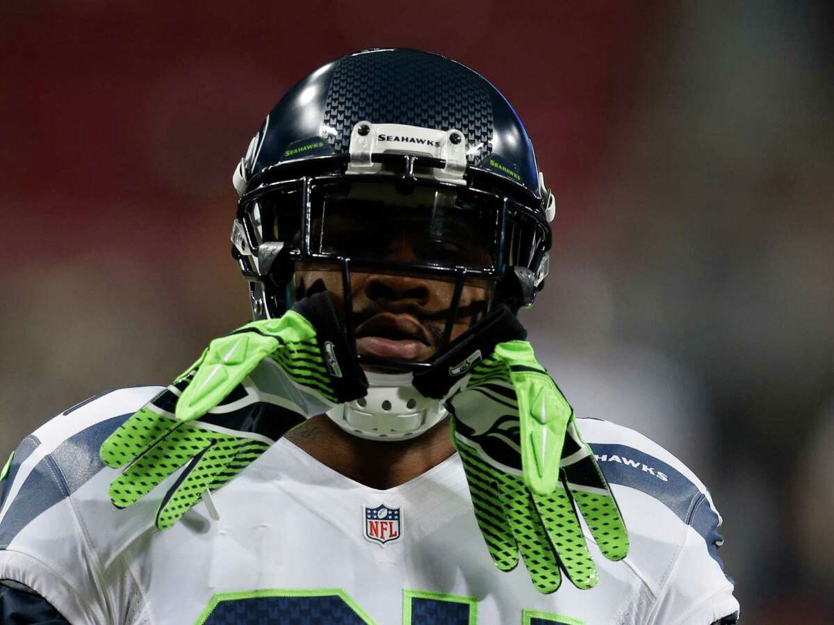 Seattle Seahawks running back Marshawn Lynch before an NFL football game against the St. Louis Rams Sunday, Sept. 30, 2012, in St. Louis.