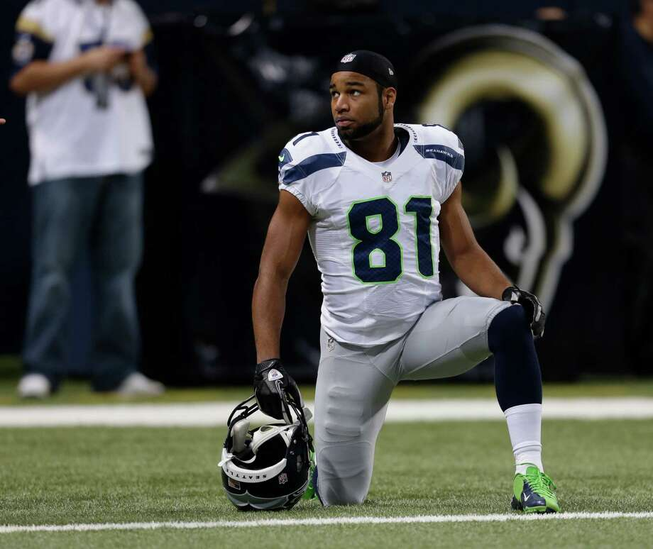 Seattle Seahawks wide receiver Golden Tate before an NFL football game against the St. Louis Rams Sunday, Sept. 30, 2012, in St. Louis. Photo: AP