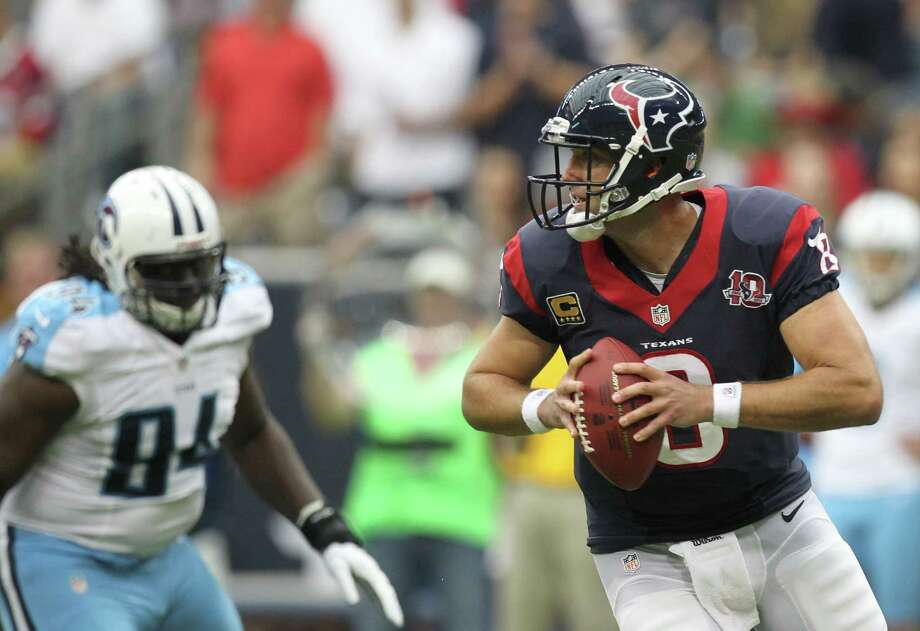Houston Texans quarterback Matt Schaub (8) looks to pass during the first quarter against the Tennessee Titans at Reliant Stadium on Sunday, Sept. 30, 2012, in Houston. Photo: Karen Warren, Houston Chronicle / © 2012  Houston Chronicle