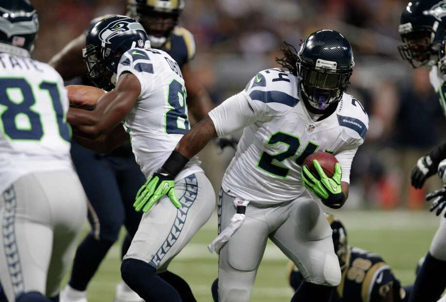 Seattle Seahawks running back Marshawn Lynch (24) during the first half of an NFL football game against the Seattle Seahawks Sunday, Sept. 30, 2012, in St. Louis. Photo: AP