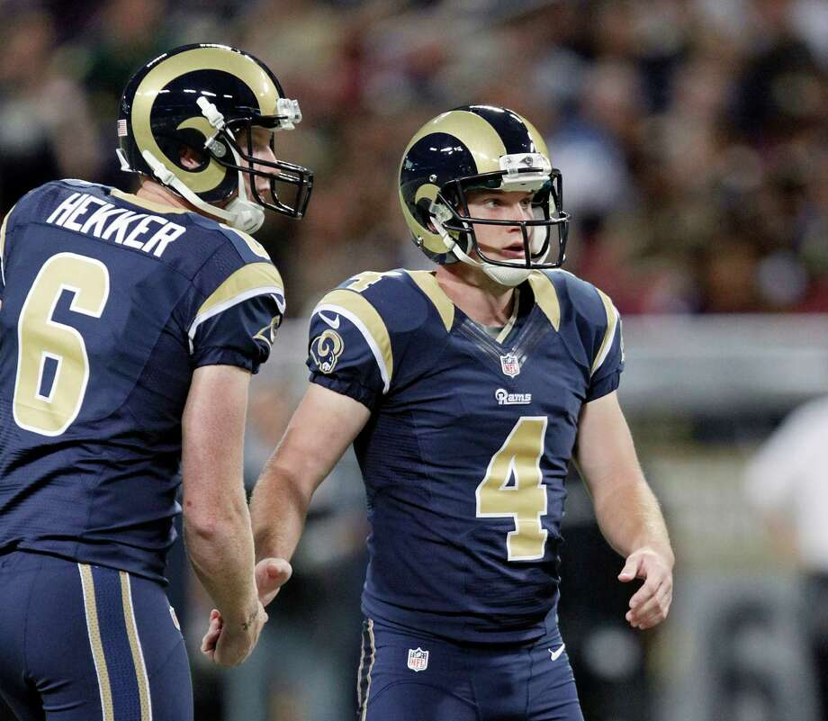 St. Louis Rams kicker Greg Zuerlein, right is congratulated by  Johnny Hekker after kicking a 58-yard field goal during the first half of an NFL football game against the Seattle Seahawks Sunday, Sept. 30, 2012, in St. Louis. Photo: AP