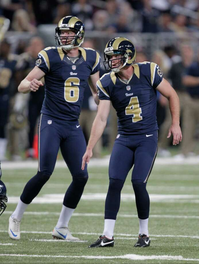 St. Louis Rams kicker Greg Zuerlein (4) and  Johnny Hekker (6) watches Zuerlein 60-yard field goal