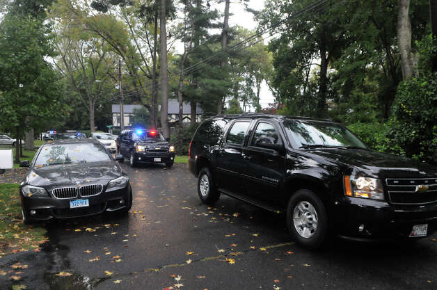 The motorcade carrying Vice Presidential candidate Paul Ryan arrives at the  home of State Sen. L. Scott Frantz on Meadow Road in Riverside, Conn., Sept. 30, 2012. Ryan visited Connecticut for a series of private fundraisers inlcuding one just prior to the Frantz event at Woodway Country Club in Darien. Photo: Keelin Daly / Greenwich Time