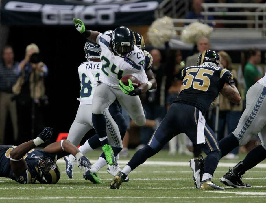 Seattle Seahawks running back Marshawn Lynch (24) runs during the first half of an NFL football game against the St. Louis Rams Sunday, Sept. 30, 2012, in St. Louis. Photo: AP