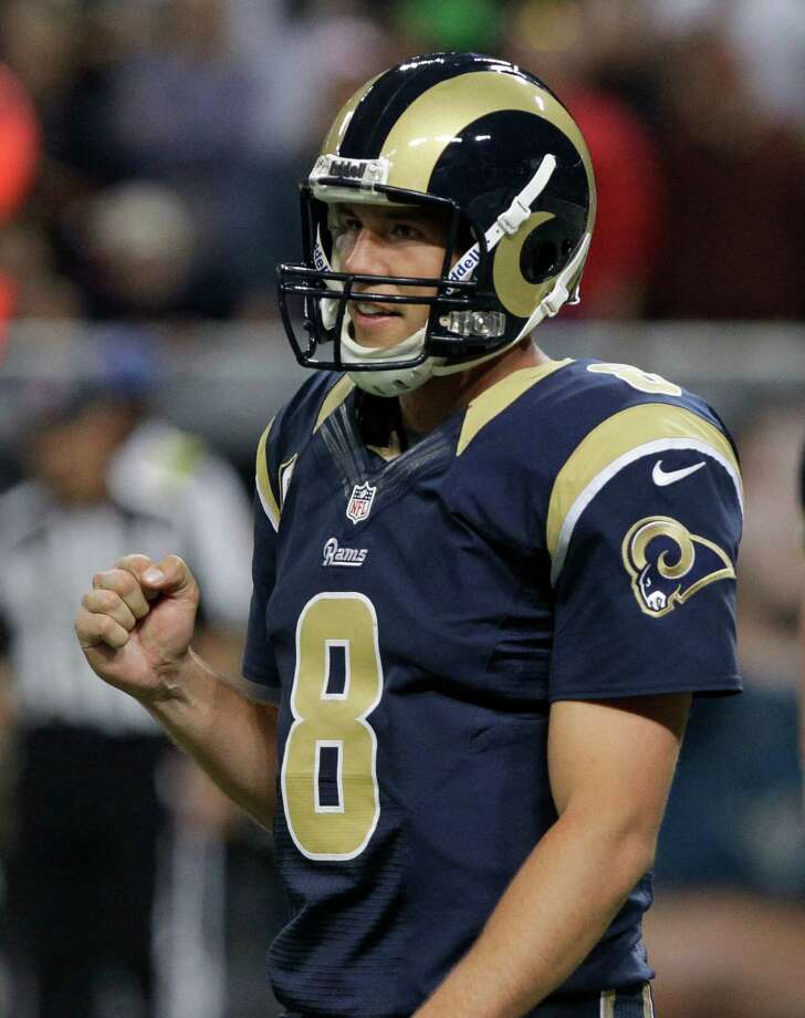 St. Louis Rams quarterback Sam Bradford reacts as time expires in an NFL football game against the Seattle Seahawks Sunday, Sept. 30, 2012, in St. Louis. The Rams defeated the Seahawks, 19-13. Photo: AP