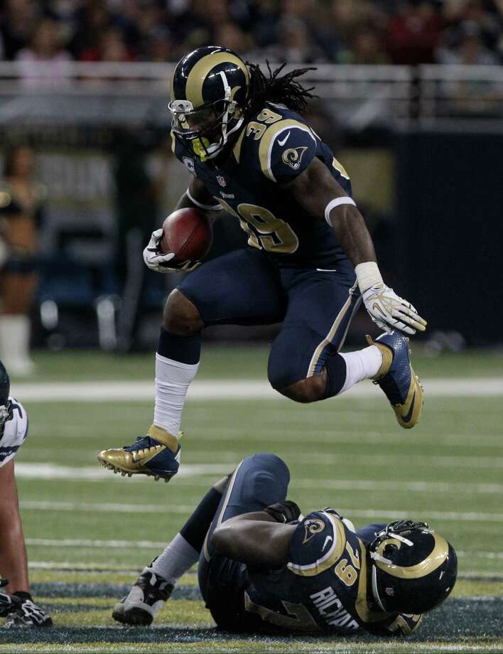 St. Louis Rams running back Steven Jackson (39) leaps over a teammate during the second half of an NFL football game against the Seattle Seahawks Sunday, Sept. 30, 2012, in St. Louis. Photo: AP