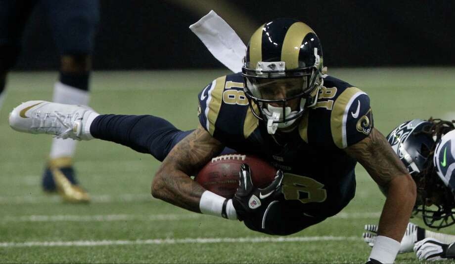 St. Louis Rams' Austin Pettis (18) dives during the first half of an NFL football game against the Seattle Seahawks Sunday, Sept. 30, 2012, in St. Louis. Photo: AP
