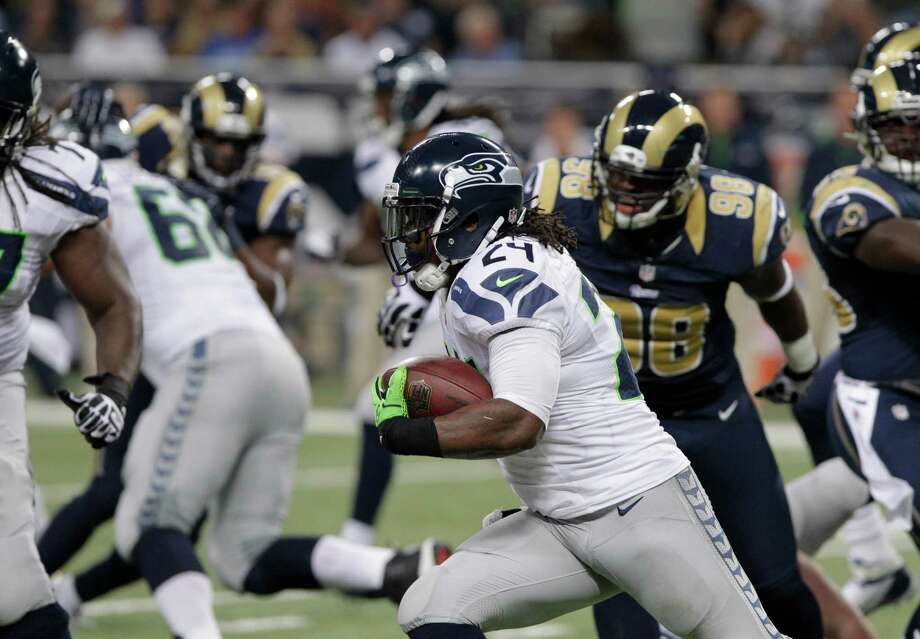 Seattle Seahawks running back Marshawn Lynch (24) during the first half of an NFL football game against the St. Louis Rams Sunday, Sept. 30, 2012, in St. Louis. Photo: AP