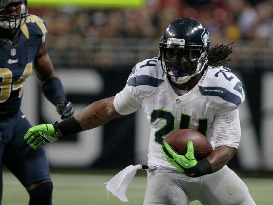 Seattle Seahawks running back Marshawn Lynch (24) during the second half of an NFL football game against the St. Louis Rams Sunday, Sept. 30, 2012, in St. Louis. Photo: AP