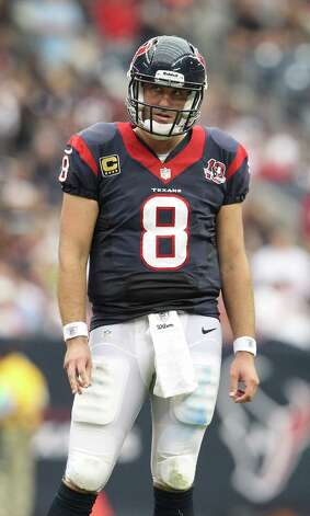 Houston Texans quarterback Matt Schaub (8) reacts during the fourth quarter at Reliant Stadium on Sunday, Sept. 30, 2012, in Houston. Texans won 38-14. Photo: Karen Warren, Houston Chronicle / © 2012  Houston Chronicle