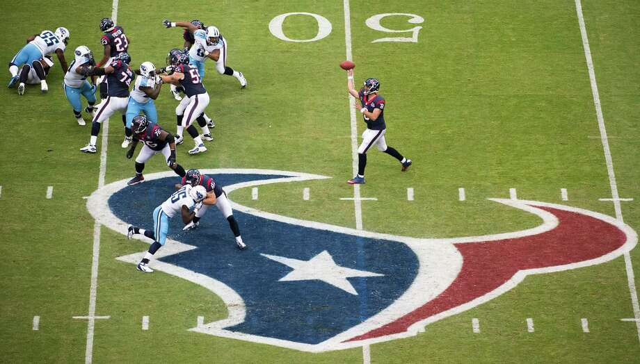 Houston Texans quarterback Matt Schaub throws a pass on an opening touchdown drive against the Tennessee Titans at Reliant Stadium on Sunday, Sept. 30, 2012, in Houston. Photo: Smiley N. Pool, Houston Chronicle / © 2012  Houston Chronicle
