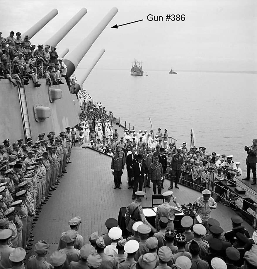 The 16-inch gun is clearly visible on the battleship Missouri during the Japanese surrender ceremony that marked the end of World War II. The historic gun will soon be placed on permanent display at Marin County's Battery Townsley. Photo: Courtesy Library Of Congress, Library Of Congress
