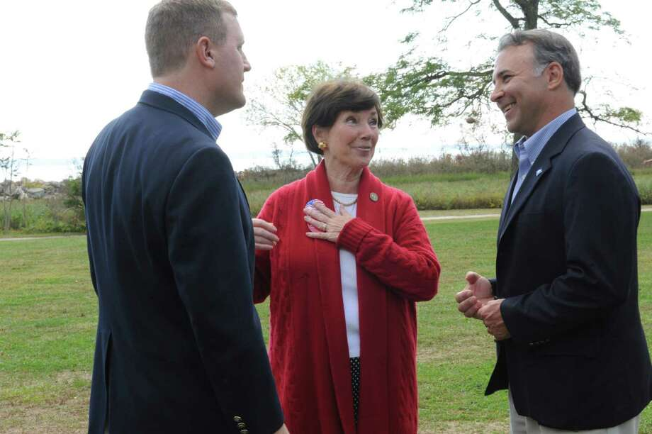 From left, Republican General Assembly candidates Steve Walko; state Rep. Livvy Floren, R-149th District; and State Rep. Fred Camillo, R-151st District, at Greenwich Republicans' annual clambake to kick off their campaign season at the Greenwich Point clambake area, Sunday, Sept. 30, 2012. Photo: Helen Neafsey / Greenwich Time